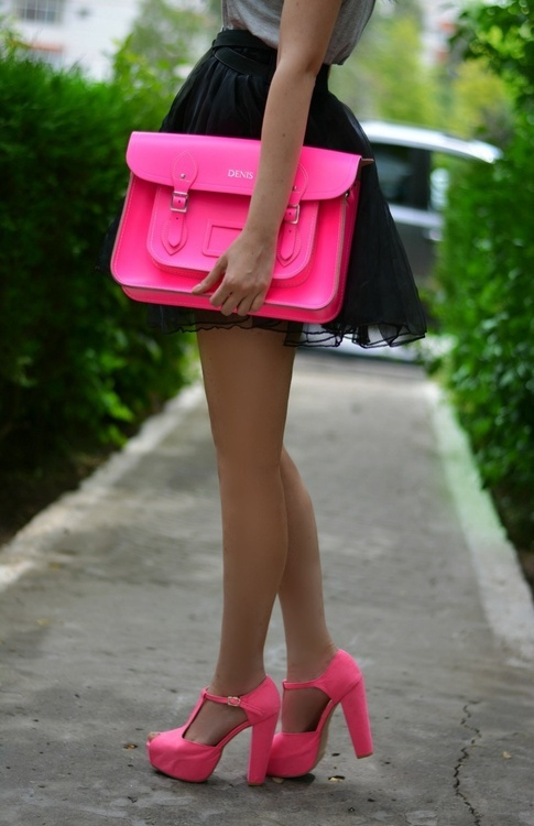 Pink hand bag and high heel pink sandals for ladies