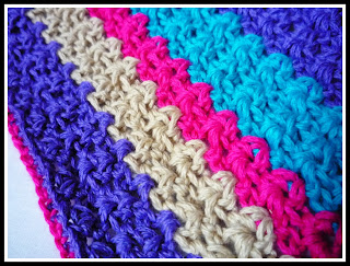 Manta a rayas a crochet - Punto V - Ahuyama Crochet
