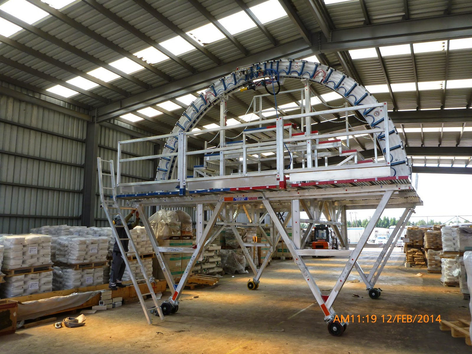 EZ Flexx FDMOR bricking machine completely erected with all its safety components and air lines.