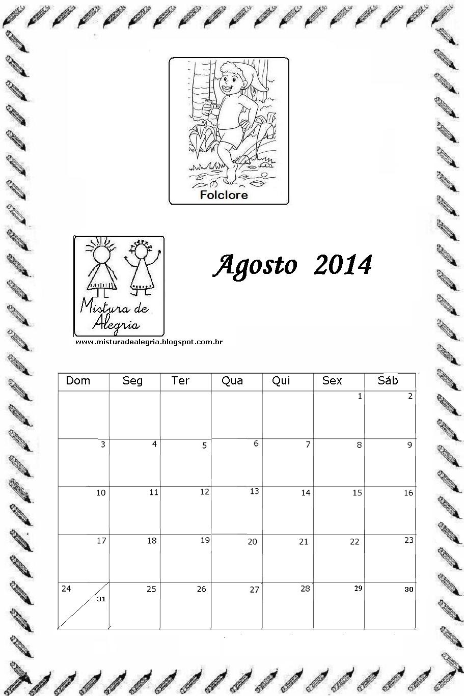 CALENDÁRIO DE 2014 PARA COLORIR - EDUCAÇÃO INFANTIL | Mistura de ...