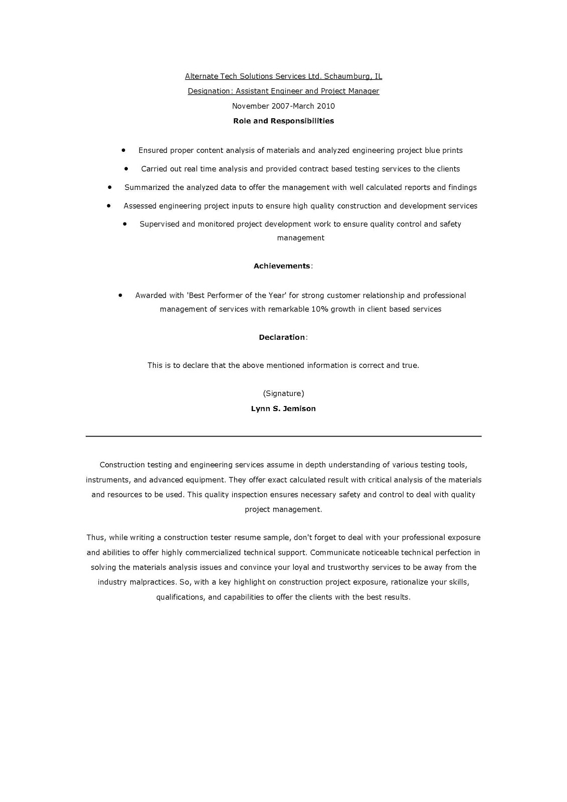 Game Testing Resume The Beginners Guide To Writing A Perfect Software  Testing Test Analyst Resume Samples