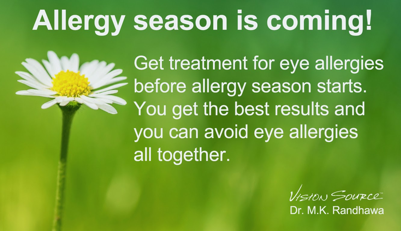 For the best results get treatment for eye allergies before allergy season begins.  You get the best results and you may be able to avoid the itch and burning of eye allergies completely.