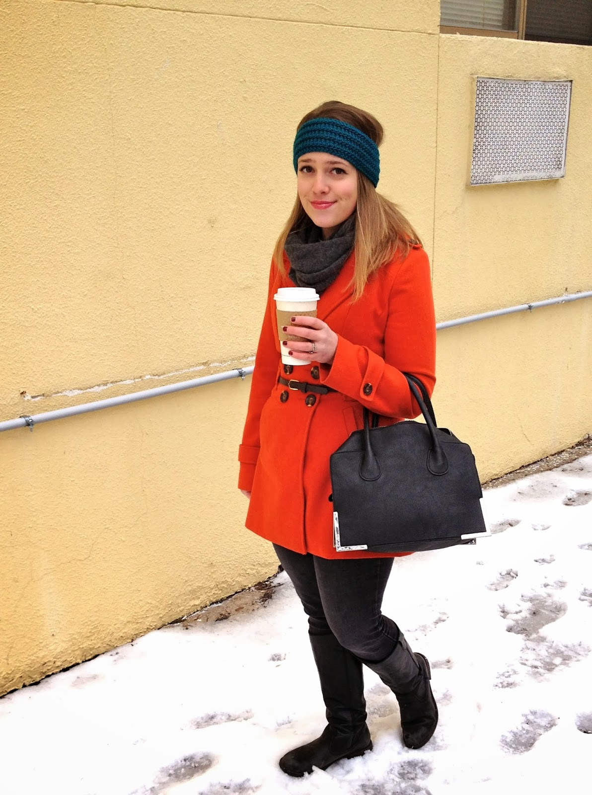 Black and orange winter jacket