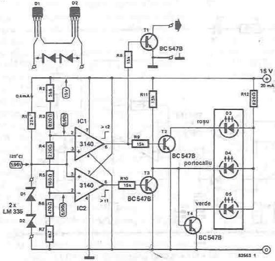 electronics circuit application   radiator temperature indicator circuits