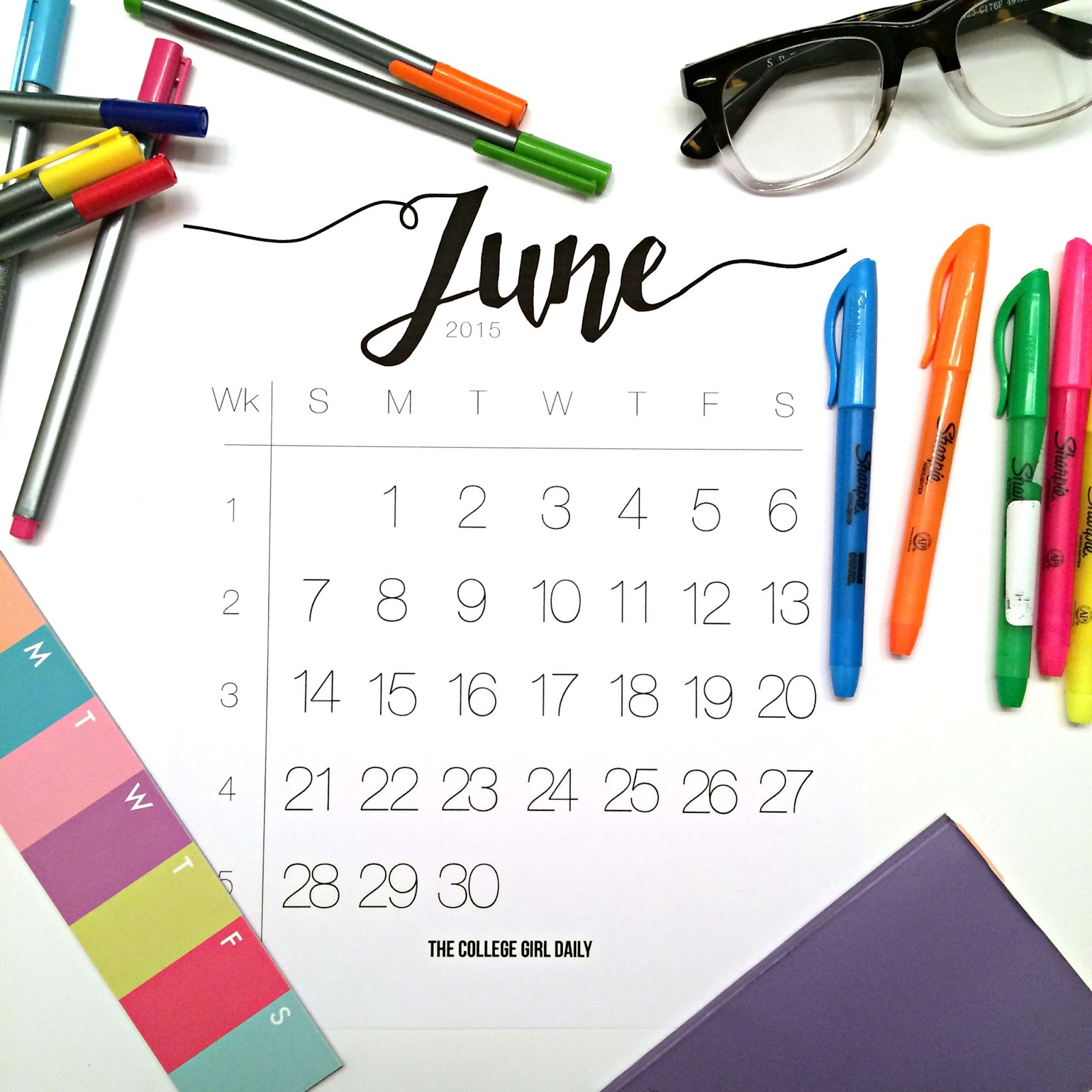 Free, calendar, minimal, design, download, summer, june, printable, June, June 2014,