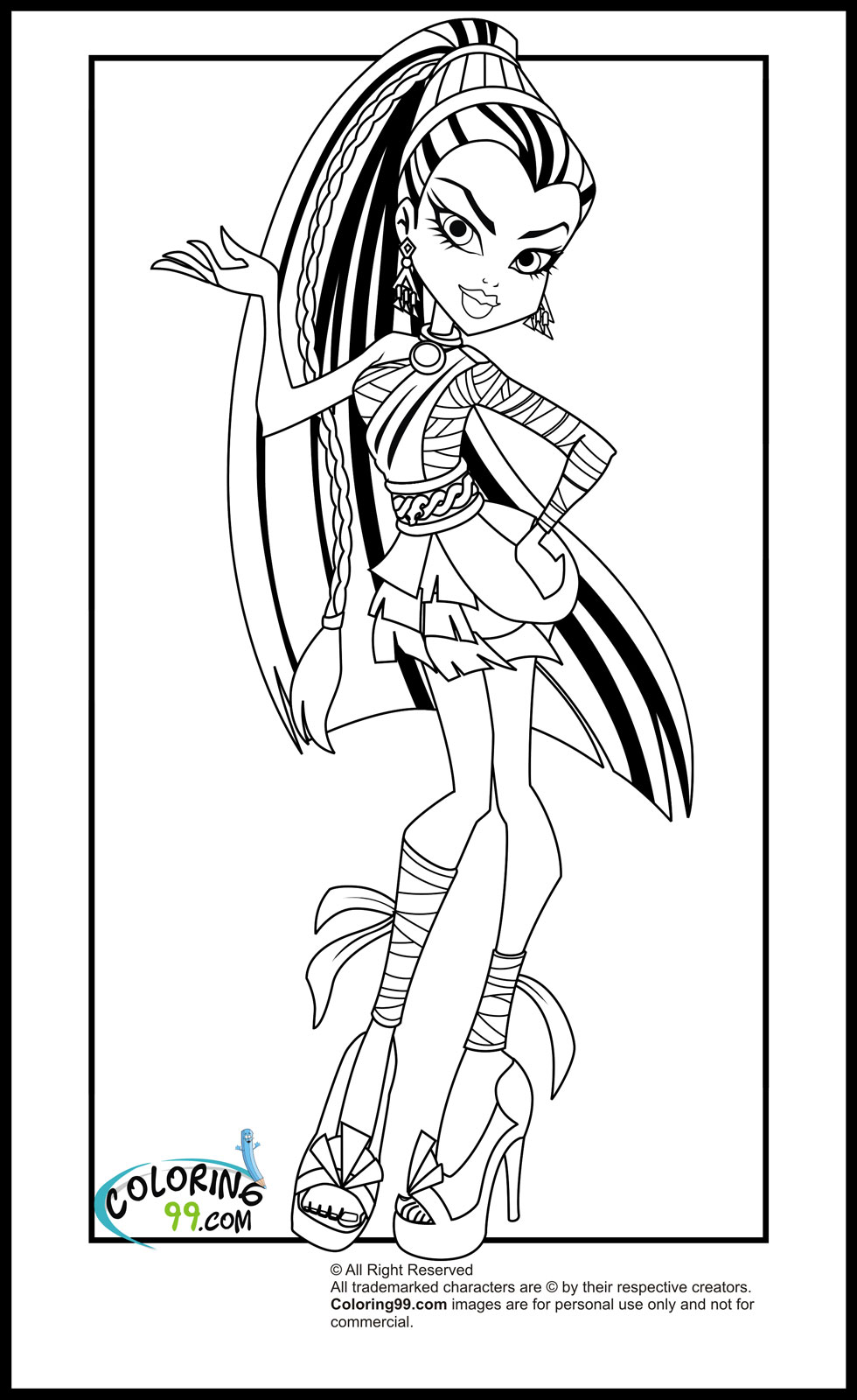 Clever image with monster high coloring pages printable