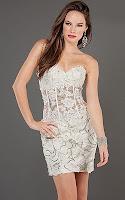 Къса рокля без презрамки от дантела цвят шампанско, дизайнер Jovani