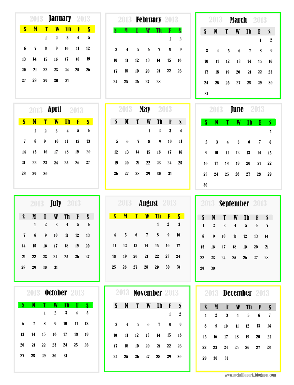 Free Printable Monthly Wall Calendars  Love Create Celebrate