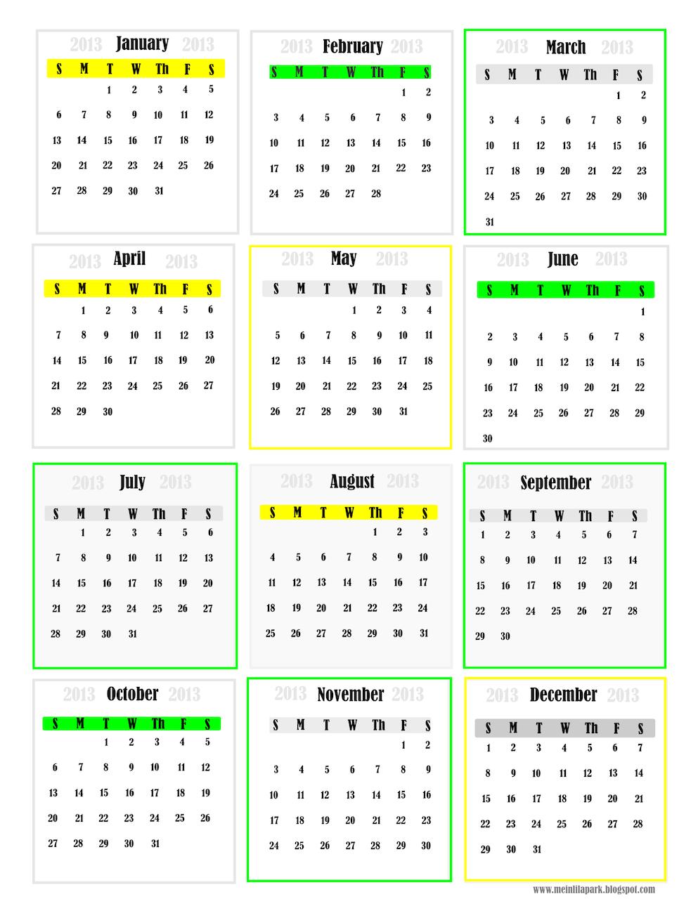 free printable 2013 calendar mini cards – kostenlose ...