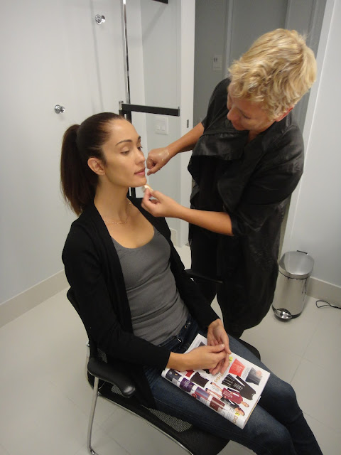 Behind the scenes:  hair & make-up being done for a Kohler Strayt shoot
