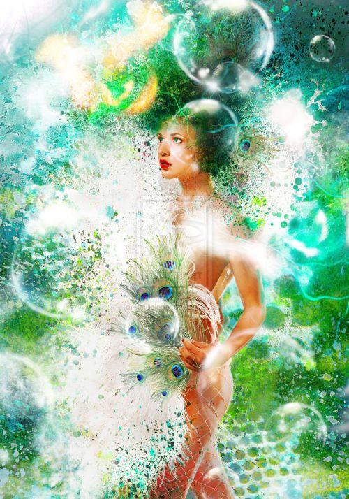 emilie leger foto manipulação digital surreal mulheres modelos sombria Pavão do mar