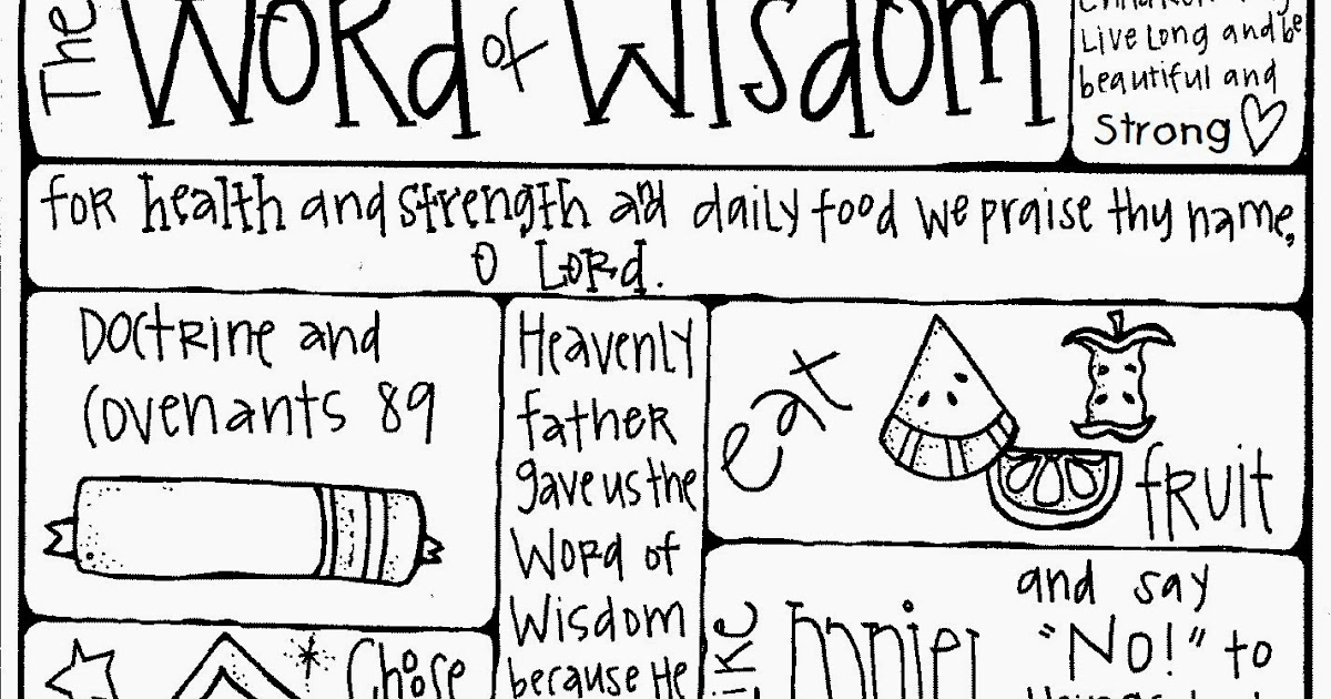 Melonheadz LDS illustrating: Word of wisdom coloring page