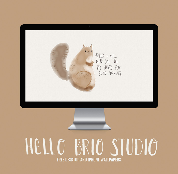 Free Doodled Squirrel Wallpaper Backgrounds for Desktop and iPhone - HelloBrio.com