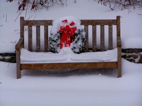 bench, wreath, Christmas decorations, outside