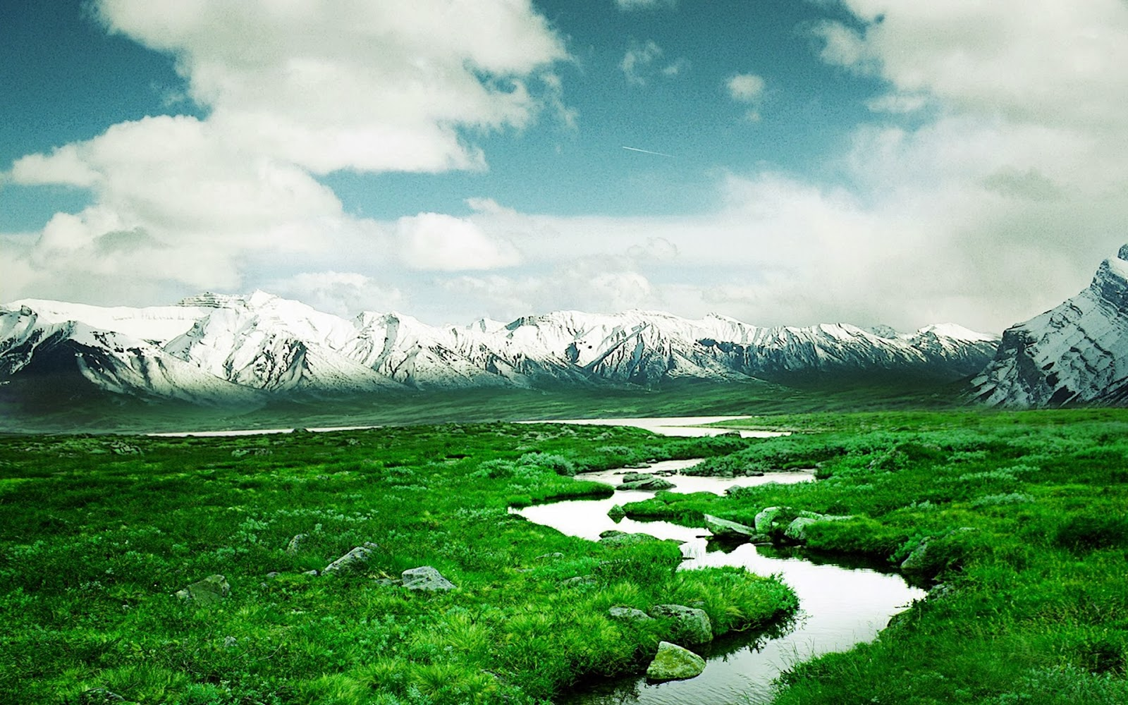 Beautiful Green Grass Mountains Nature Full HD Desktop Backgrounds Images Wallpapers Free