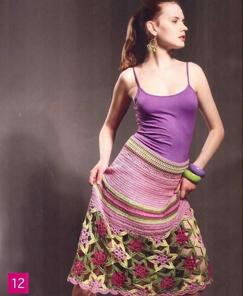 Falda Flores a Crochet o Ganchillo