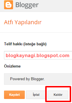 powered by blogger kaldırmak