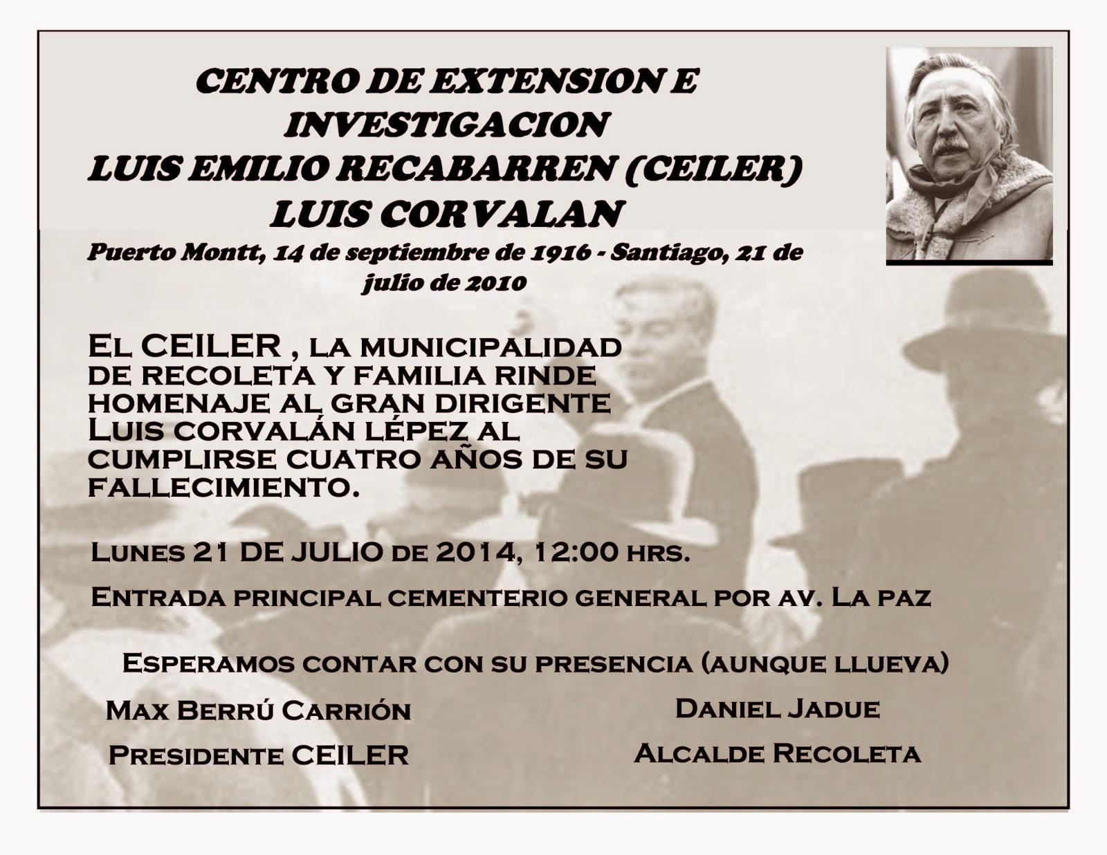 INVITACIÓN ROMERIA AL COMPAÑERO LUIS CORVALÁN, CEILER.