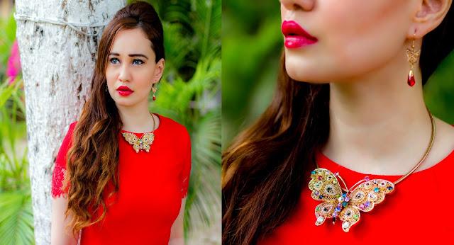 Red Lips, Gold Butterfly Necklace, Butterfly Earrings