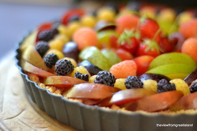 Coconut Panna Cotta Tart topped with fresh fruit