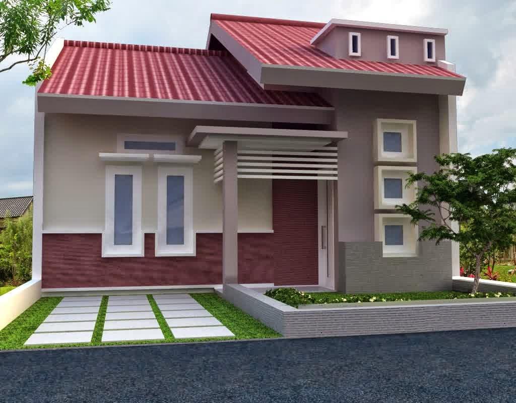 Contoh Desain Rumah Mungil 1 Lantai Tipe 36 Warna Merah Bata