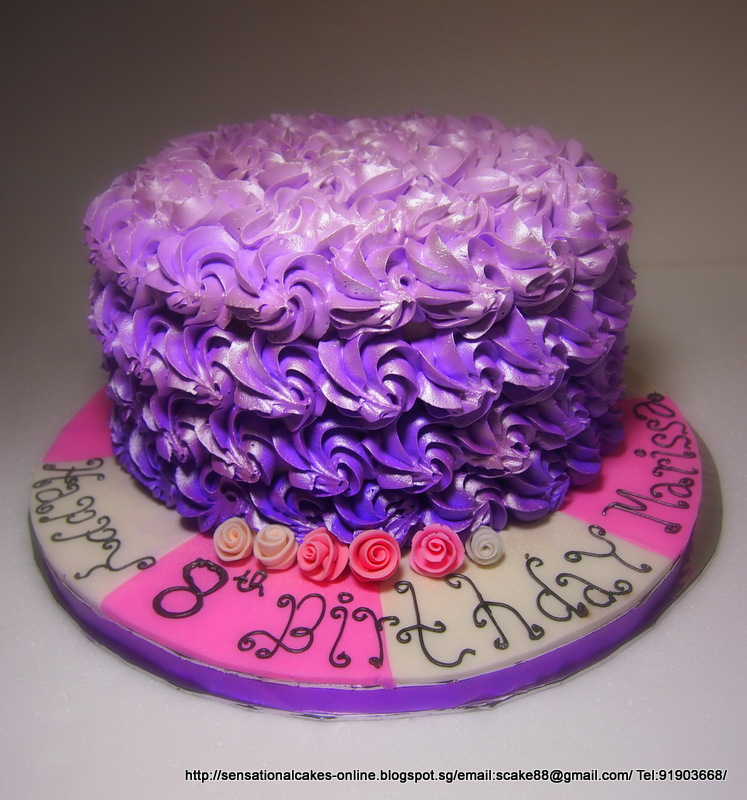 The Sensational Cakes ROSE SWIRLS PURPLE OMBRE BUTTERCREAM CAKE