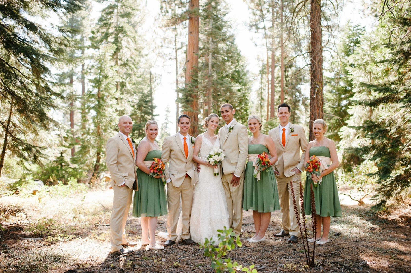 Fall bridal party in sage, tan, and orange // Acres of Hope Photography // Take the Cake Event Planning