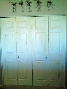 Aged my son's closet doors