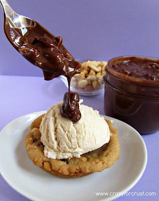 Deep dish peanut butter ice cream cookie sundaes with hot fudge