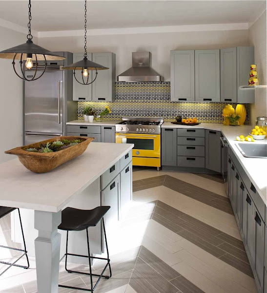 The granite gurus grey yellow kitchens for Gray and white kitchen decor
