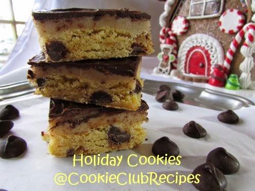 Cookie Dough Blondies with Dark Chocolate! Get Recipe at CookieClubRecipes