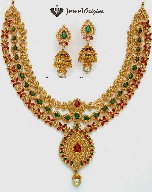 rubies necklace earrings over emeralds carat south jewellery pearls pear hanging gold pretty bottom diamond all set the square large in designs uncut shaped sea with