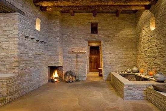 Ba os con paredes de piedra colores en casa - Paredes decoradas con piedra ...