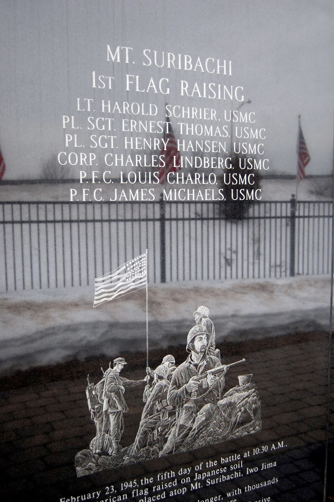 detail on the monument to honor the first flag raisers