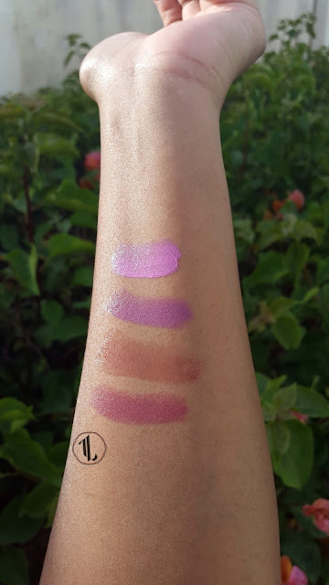 P2 'Carnaby Street', Revlon 'Berry Haute', No. 7 'Fascinate', Revlon 'Rosy Nude' swatches www.modenmakeup.com