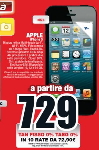 Per chi vuole acquistare l'iPhone 5 in 10 rate senza interessi è valida la promozione Mediaworld fino a maggio 2013