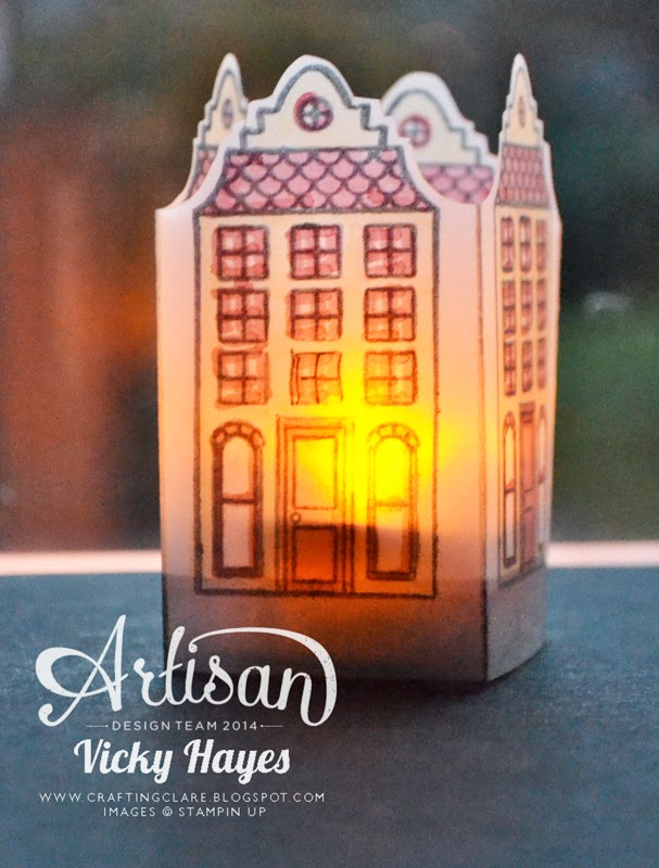 vellum tea light holder made by UK Stampin' Up demonstrator Vicky Hayes
