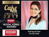 Vargáné Orbán Anikó elnyerte a Cake Masters Awards 2017 Royal Icing kategóriájának díját