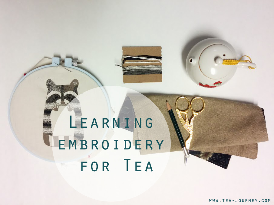 Learning embroidery for tea with Kiriki Press embroidery plush doll kits. Use the skills from the kits for creating your own tea mat or embellishing anything with a little fun and love. racoon tea