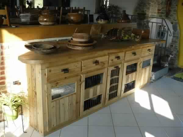 meuble de cuisine en bois de palette - Meubles En Bois De Palette