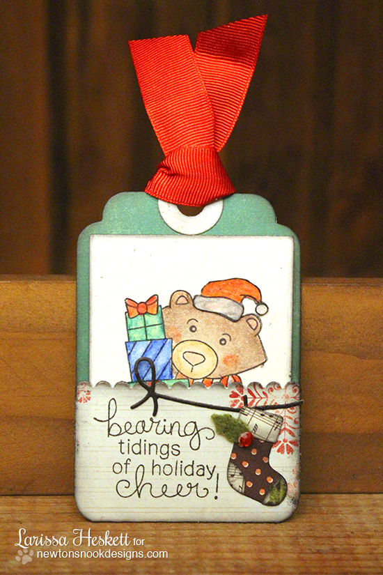 Bear Christams tag by Larissa Heskett for Newton's Nook Designs - Winston's Home for Christmas Stamp set