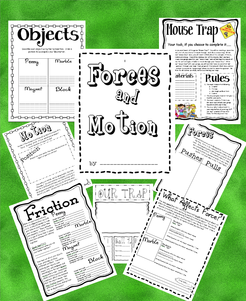 2nd grade science worksheets on force and motion