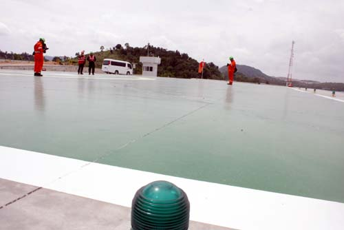 Saipem karimun built helipad for landing helicopter