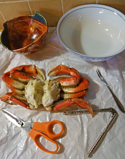 Crab, Two Bowls, Kitchen Shears, Small Fork, Nutcracker