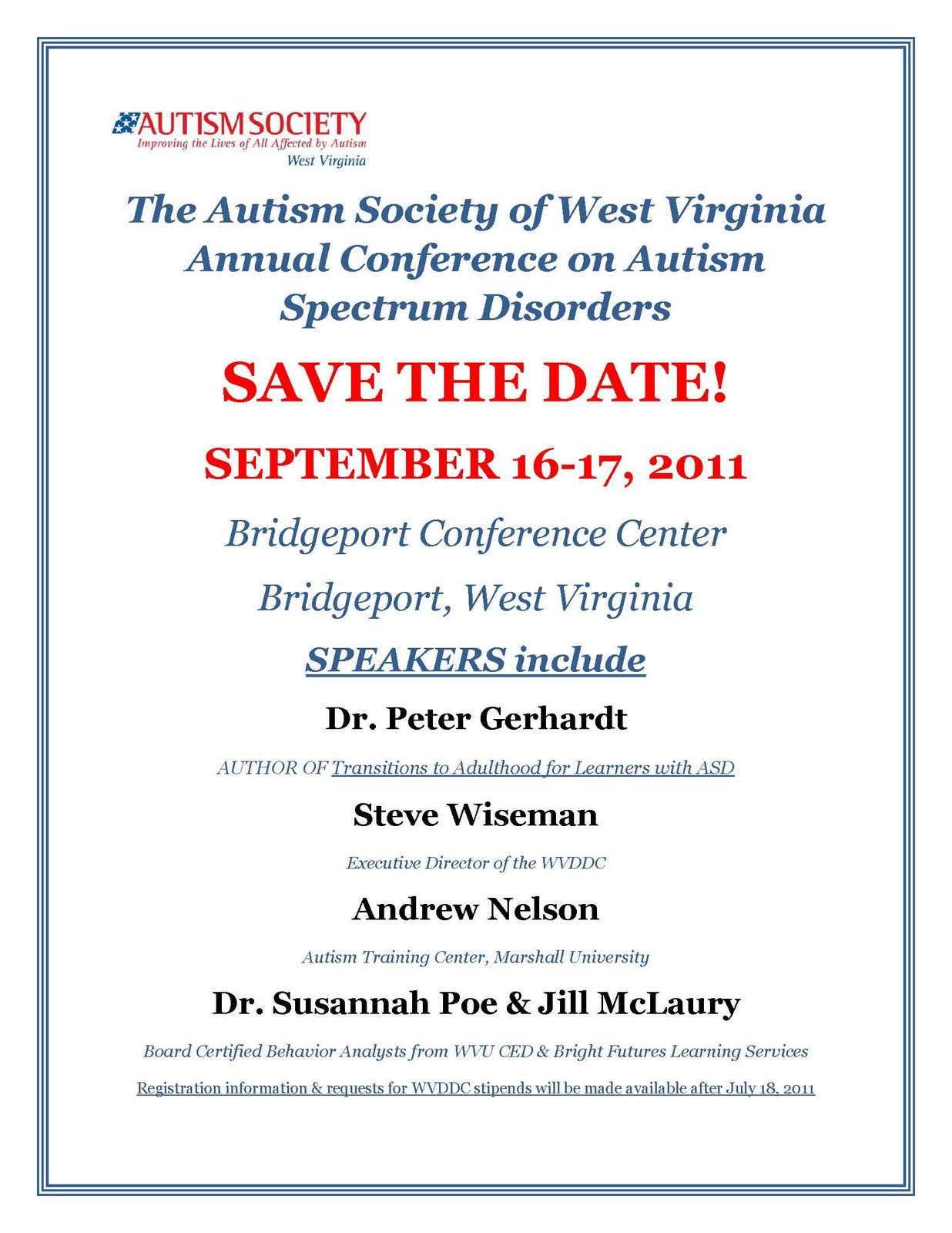 The autism society of west virginia aswv fall conference for Conference save the date template