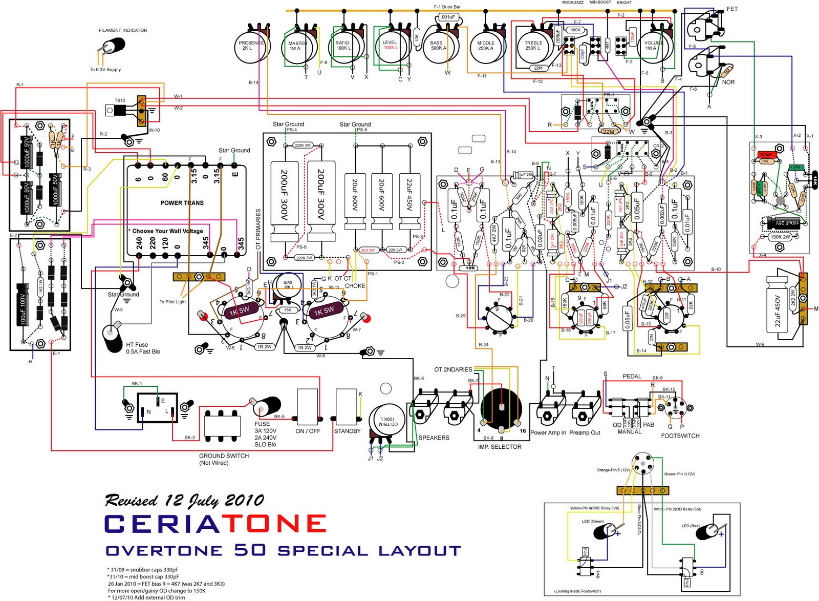 Here's a layout for the Overtone Special 50 (A Dumble Overdrive Special 50W  Clone):