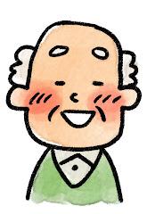 おじいさんの表情のイラスト(照れ)