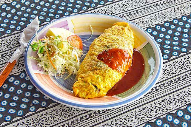 Omurice,omelete, rice, vegetables