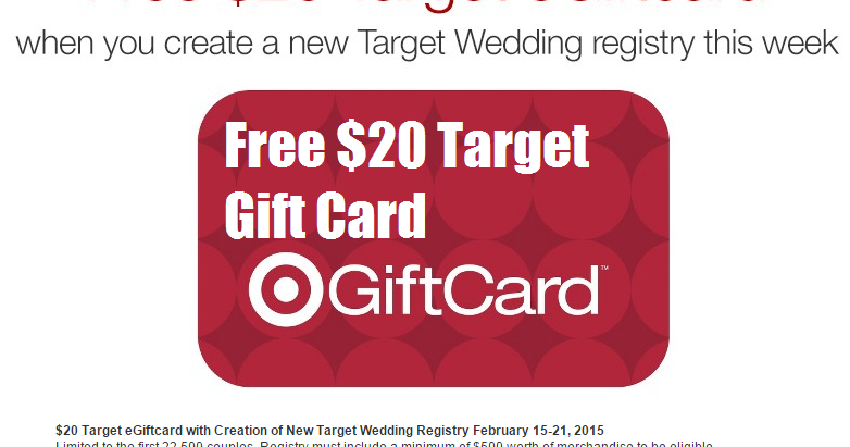 USD20 Target Gift Card With Wedding Registry 2015 : ... Married? Free USD20 Target Gift Card When You Create a Wedding Registry