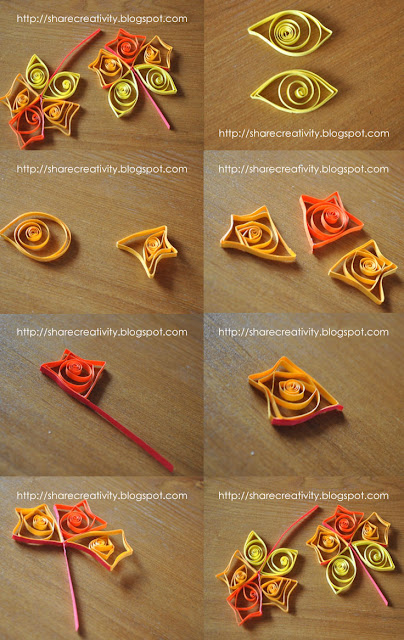 Beginners fall leaf quilling